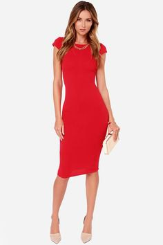 red form-fitting midi dress with cap sleeves and white clutch wallet
