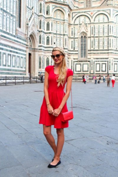 Mini skater summer dress with red cap sleeves