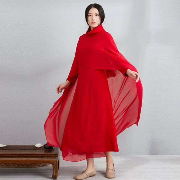 red chiffon scarf with matching maxi dress and flats