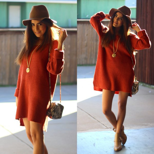 red, chunky sweater dress with gray floppy hat