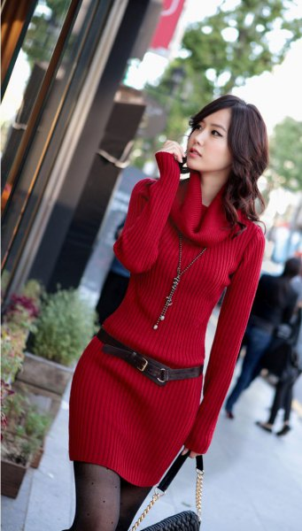 red, ribbed sweater dress with a cowl neckline