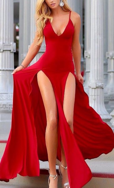 red flowing dress with deep V-neckline and double slit