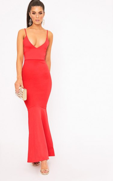 red fishtail maxi dress with deep V-neck