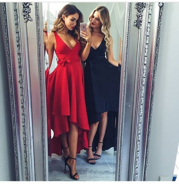red deep V-neck fit and flared high-low midi dress