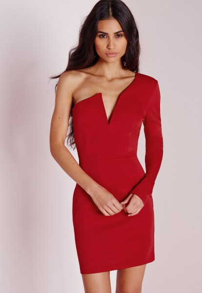 red bodycon dress with deep V-neckline and sleeves