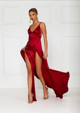 red spaghetti strap with deep V-neckline and double slit maxi dress