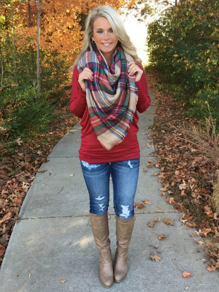 red dolman sleeve knitted sweater plaid scarf