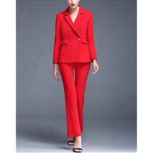 red double-breasted suit jacket with flared trousers and open toe heels