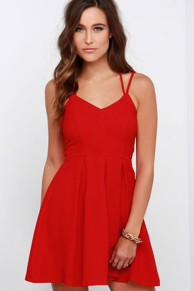 red mini skater dress with double straps and V-neck