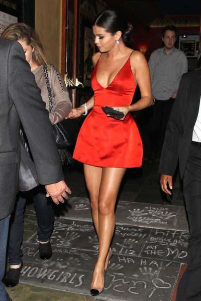 red and flared mini dress with deep V-neck