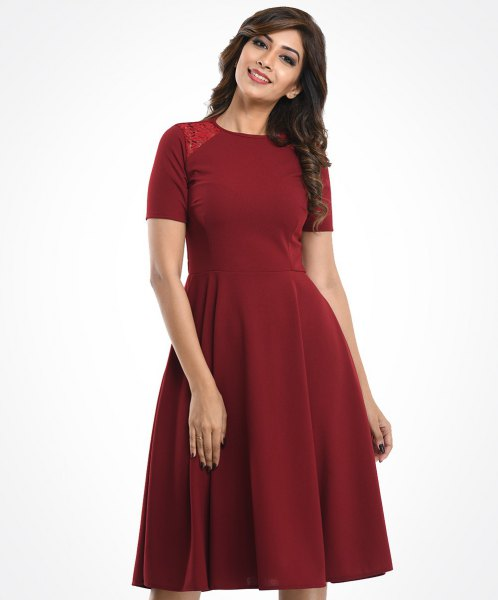 red, short-sleeved dress with fit and flare