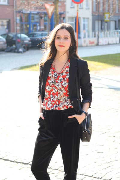 red flower blouse with black blazer