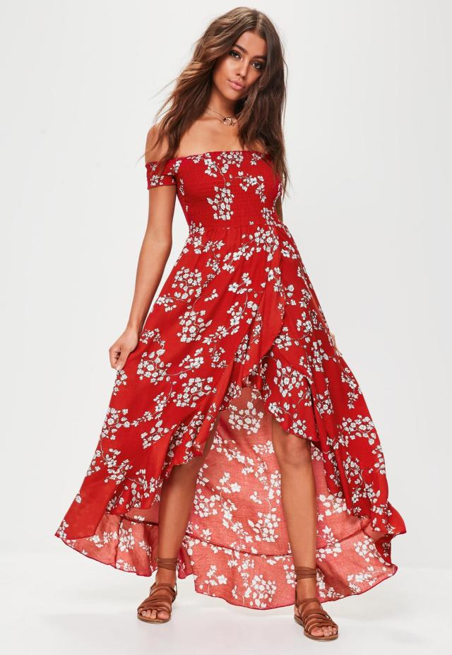 red maxi dress outfit with floral pattern