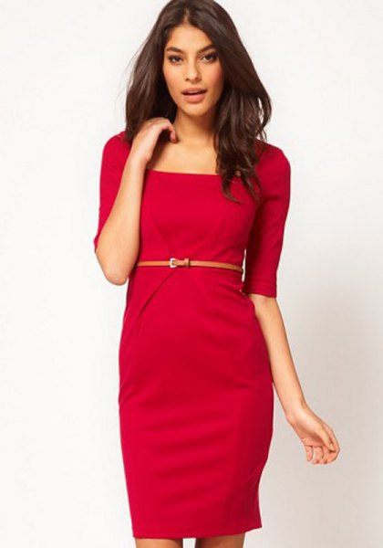 red knee-length shift dress with belt sleeves