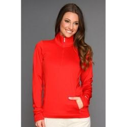 red half sleeve half zip golf jacket and white jeans