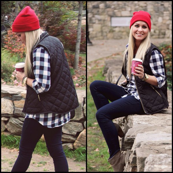 red knitted hat with checked shirt and dark blue jeans