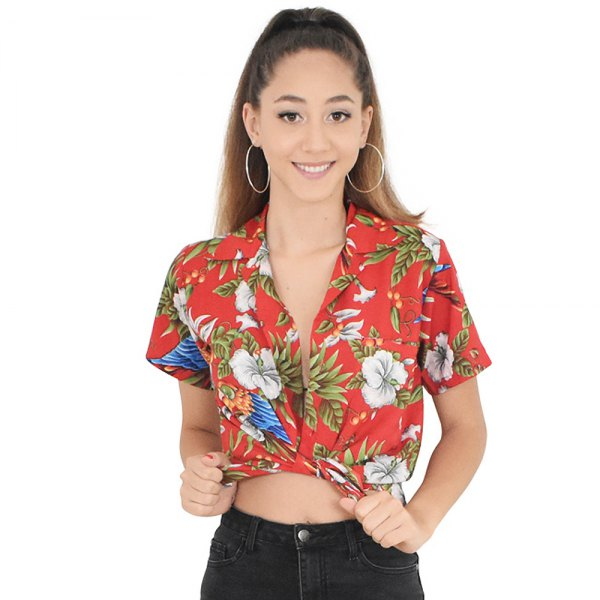 red knotted Hawaiian shirt with buttons and black skinny jeans