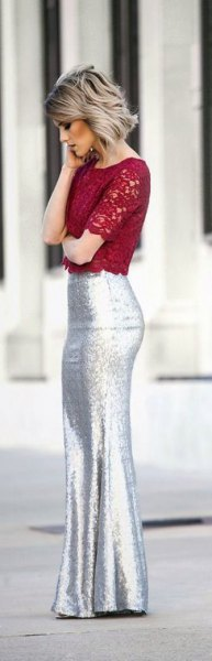 red lace top with silver mermaid skirt