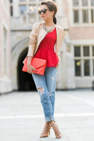 red lace peplum top with blushing pink leather jacket