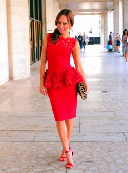 red lace top with figure-hugging midi skirt