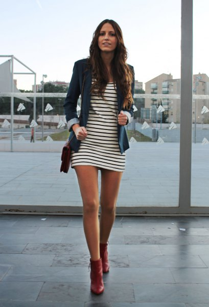 red leather ankle boots striped shirt dress