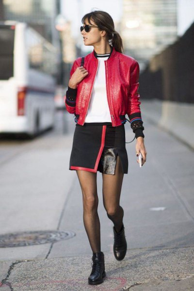 red leather bomber jacket with black wrap mini skirt