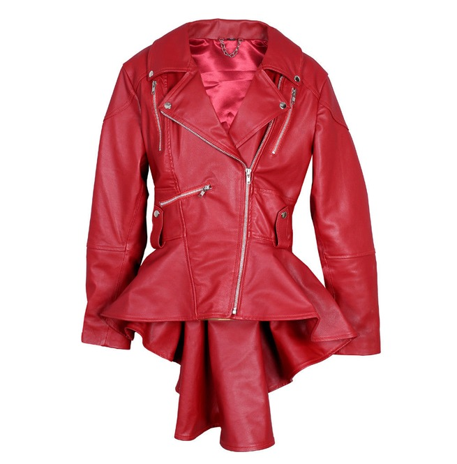 Women's Red Leather Coat Slim Fit Fashion Leather | RebelsMark
