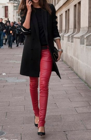 Red leather pants and the over-the-hips blazer elevates the look .