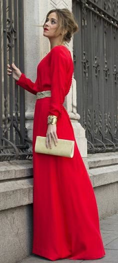 red maxi dress with long sleeves and belt