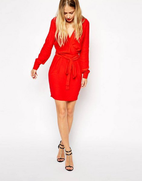 red mini wrap dress with long sleeve ties and waist