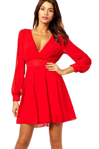 red long-sleeved V-neck fit and flared mini dress