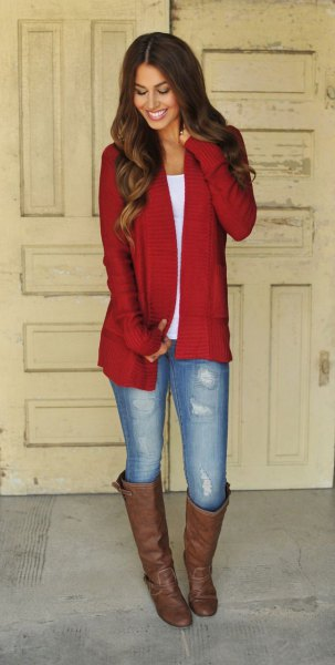red longline cardigan with white t-shirt with scoop neck and brown knee-high boots