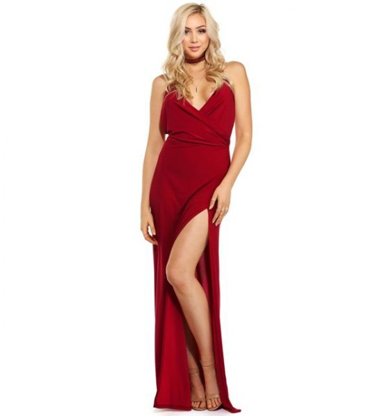 red maxi slit dress with matching collar