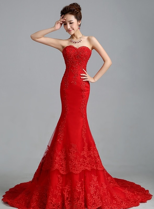 Real Photo Luxurious Croset Bodice Lace Top Quality Red Mermaid .