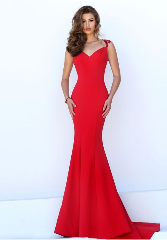 red mermaid dress lace straps