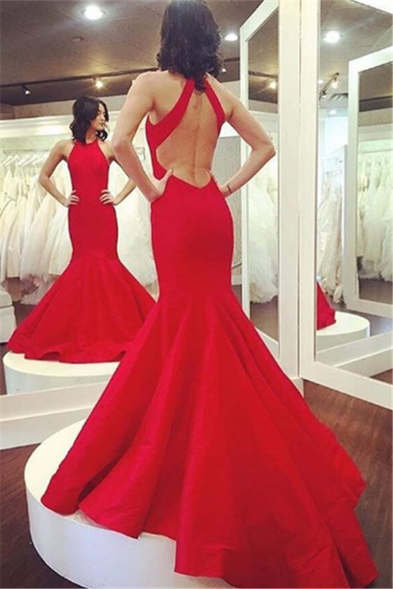 red mermaid dress with open back