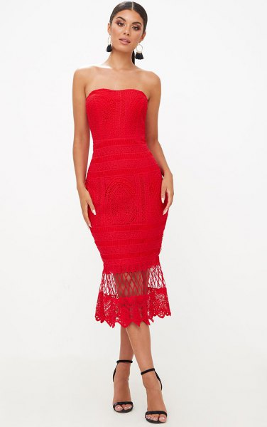 red mermaid lace midi tube dress with open toe heels