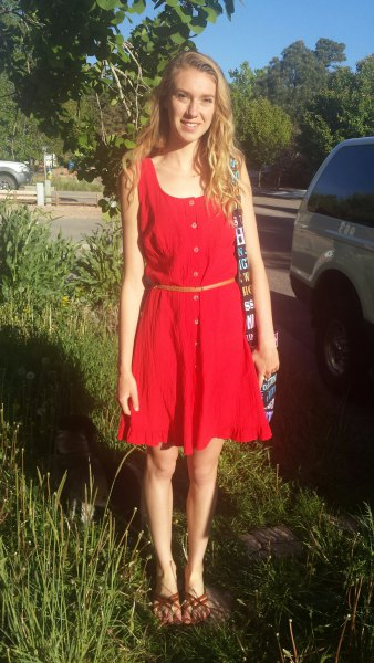 red mini summer dress with flared armor