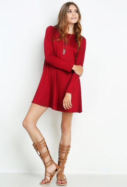 red mini long-sleeved silk dress with naked gladiator sandals