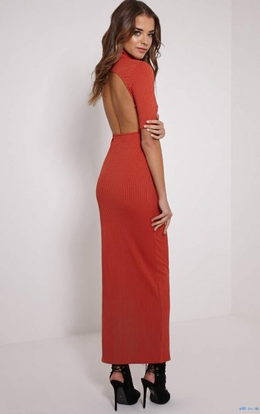 red maxi dress with open back and black ballet and black ballerinas