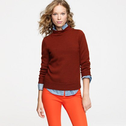 red mock neck sweater chambray shirt