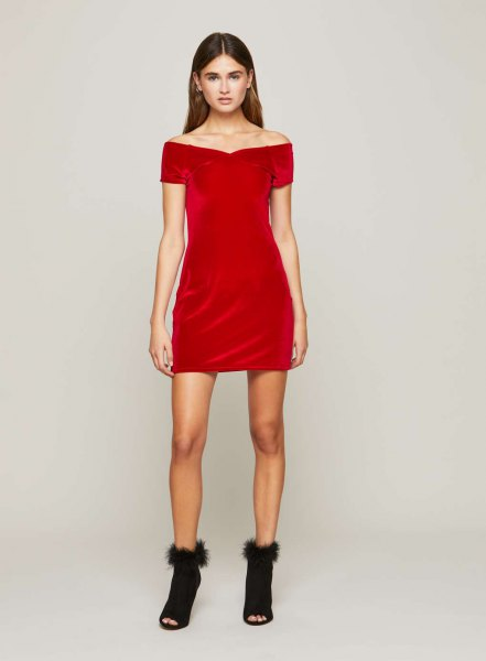 red strapless mini dress with open toe boots