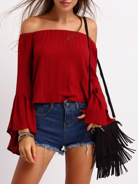 red off shoulder denim shorts