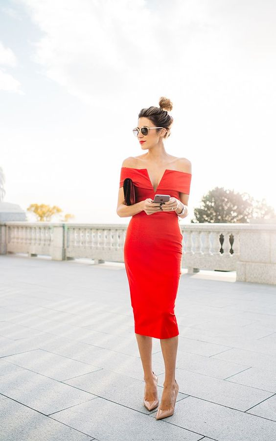 red pen from the shoulder dress