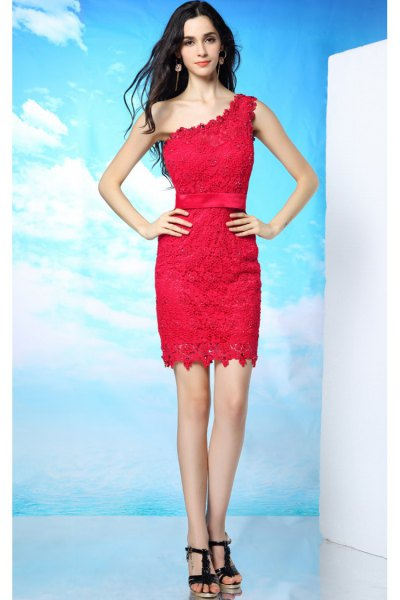 red lace dress with one shoulder and black heels