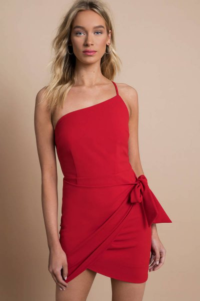red mini wrap dress with one shoulder spaghetti strap