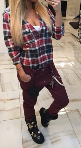red checked boyfriend shirt with black fleece pants