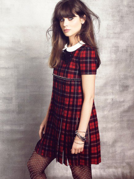 red checkered mini dress white collar blouse