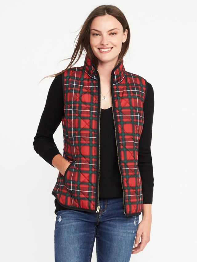 red checked quilted vest