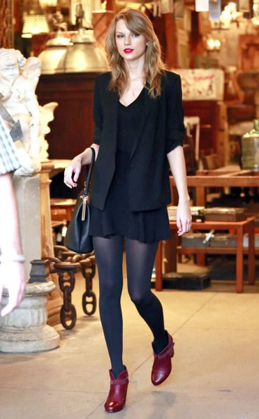 red pointed toe ankle boots black blazer